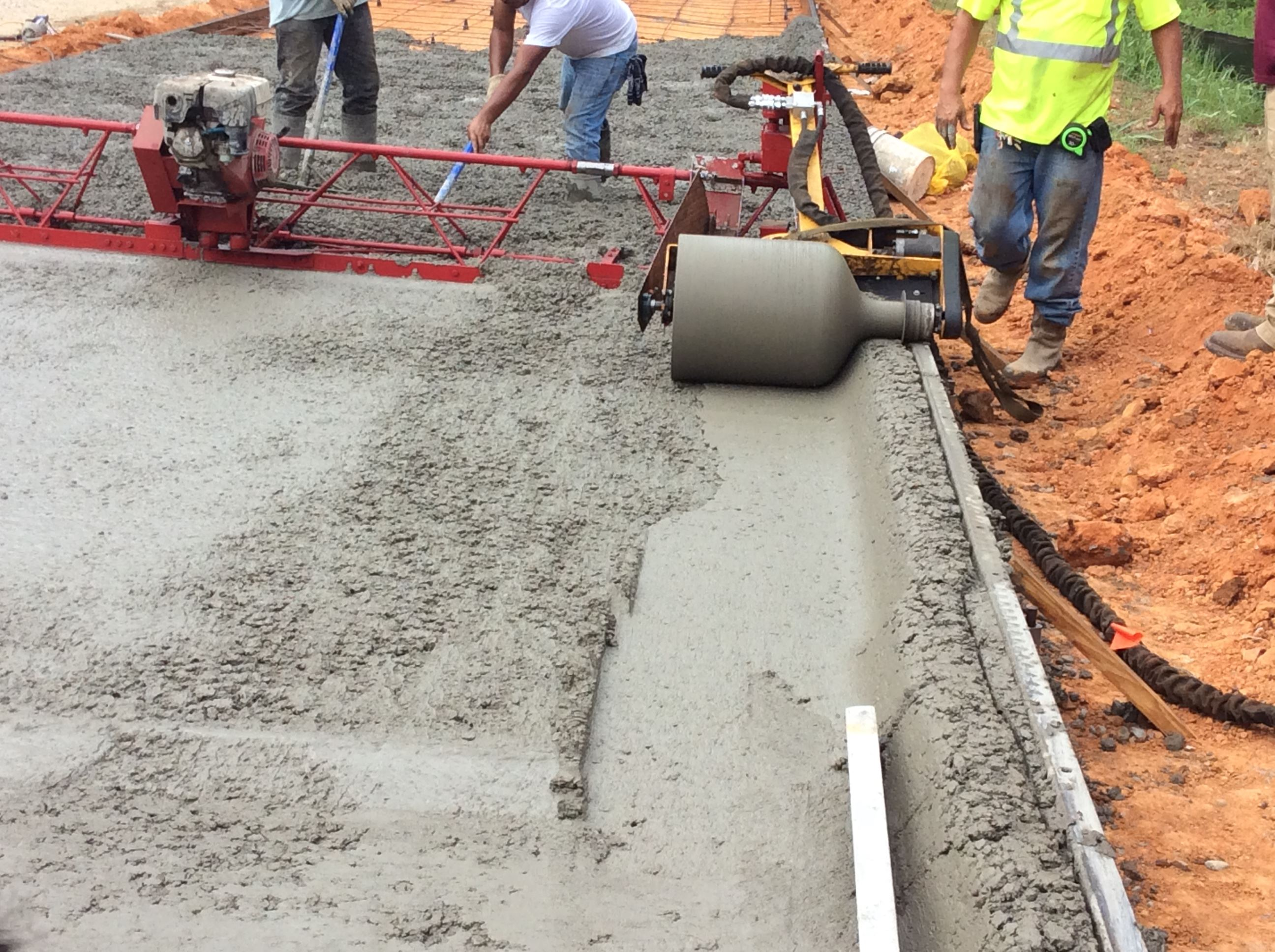Wet cement being worked on